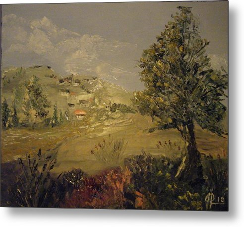 Lanscape Metal Print featuring the painting Landscape Study With Pallette Knife by Joseph Papale