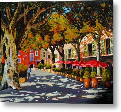 Impressionism Landscape Metal Print featuring the painting Mid-day Shade In The Village by Santo De Vita