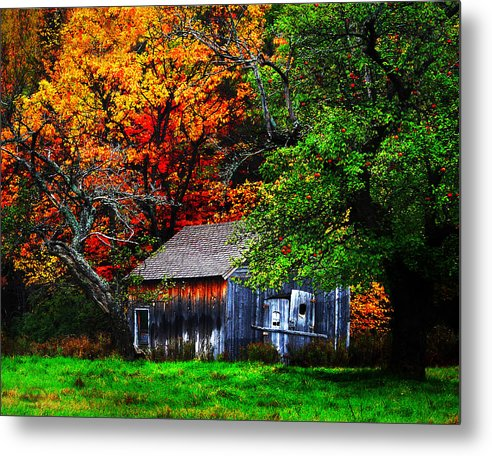 Autumn Metal Print featuring the digital art Old Homestead And The Apple Tree by Vicki Lea Eggen