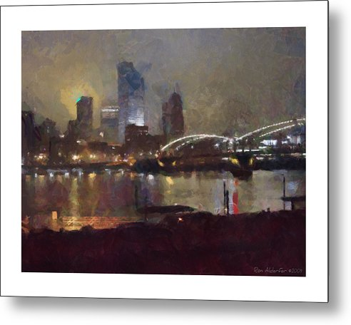 Digital Metal Print featuring the photograph Pittsburgh Night by Ron Alderfer