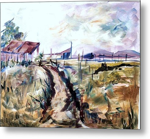 Farm Metal Print featuring the painting Rains Comin by Linda King