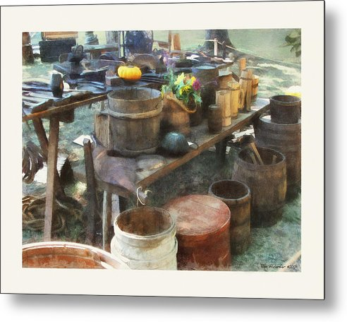 Digital Metal Print featuring the photograph The Cooper's Table by Ron Alderfer