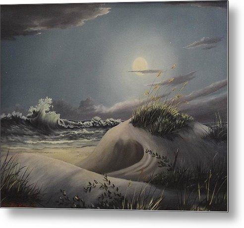 Landscape Metal Print featuring the painting Waves And Moonlight by Wanda Dansereau