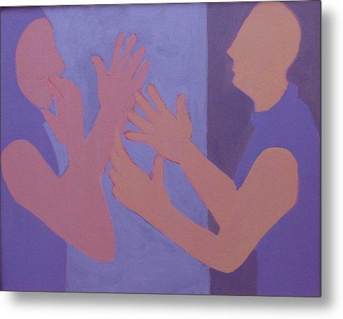 Talking Metal Print featuring the painting Conversation by Renee Kahn