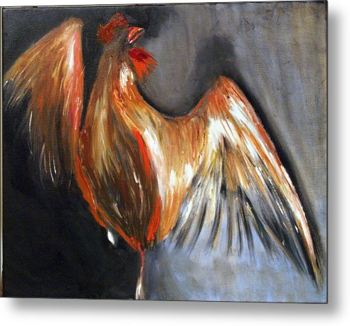 Rooster Chicken Red Metal Print featuring the painting El Gallo by Niki Sands