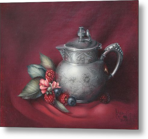 Still Life Metal Print featuring the painting Raspberries by Michelle Kerr