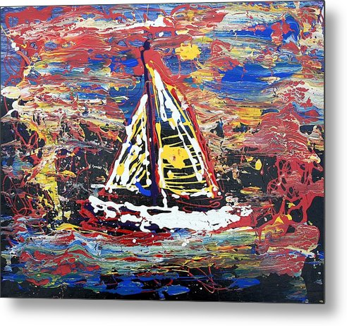 Sailboat Metal Print featuring the painting Sunset On The Lake by J R Seymour
