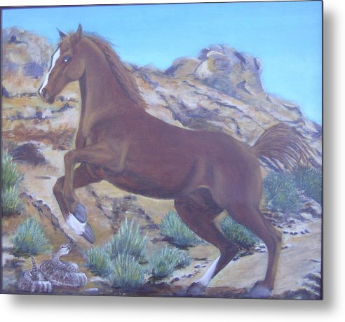 Horse Metal Print featuring the painting Valley Of Fire by KC Knight