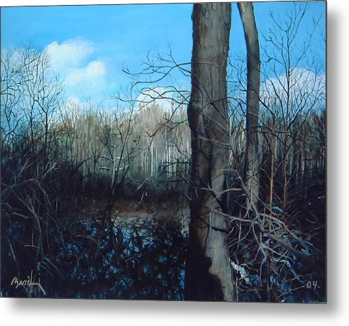 Landscape Metal Print featuring the painting Winter Trees by William Brody