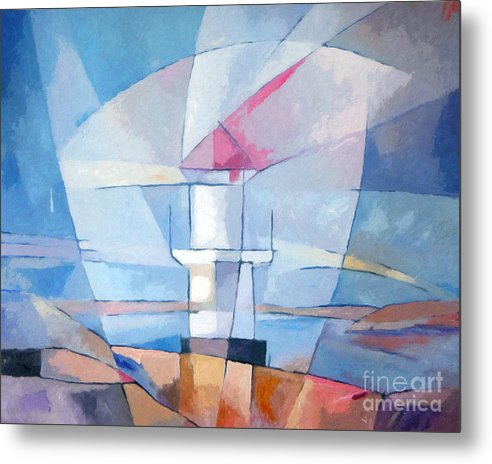 Lighthouse Metal Print featuring the painting Lightscape At Sea by Lutz Baar