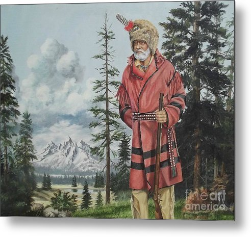 Landscape Metal Print featuring the painting Terry The Mountain Man by Wanda Dansereau