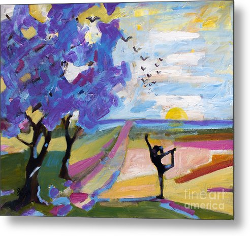 Yoga Metal Print featuring the painting Yoga Under The Jacaranda Trees by Ginette Callaway