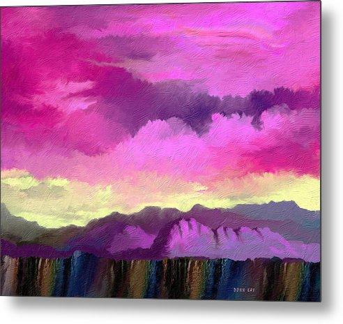 Mountains Western New Mexico Arizona Southwestern Sky Rocks Metal Print featuring the painting Morning At The Rim Of The Canyon by Donn Kay