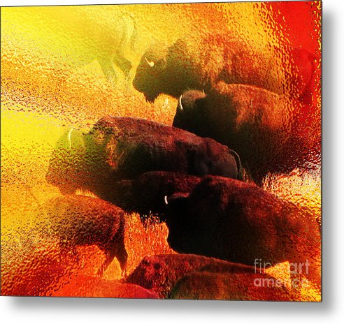 Abstract Metal Print featuring the photograph Buffalo Sun by Terril Heilman