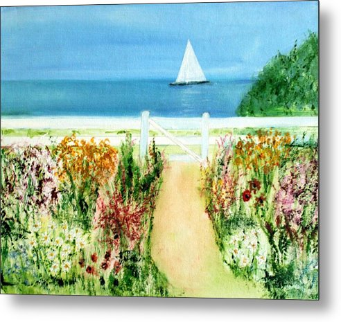 Landscape Metal Print featuring the painting Celia Thaxter by Michela Akers