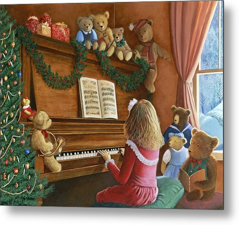 Teddy Bears Metal Print featuring the painting Christmas Concert by Susan Rinehart
