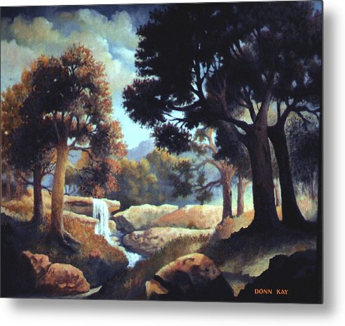 Waterfalls Mountains Southwest Texas Landscape Painting Metal Print featuring the painting Early Morning At Hidden Rock by Donn Kay