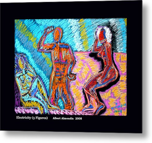 Figurative Metal Print featuring the painting Electricity - 3 Figures by Albert Almondia