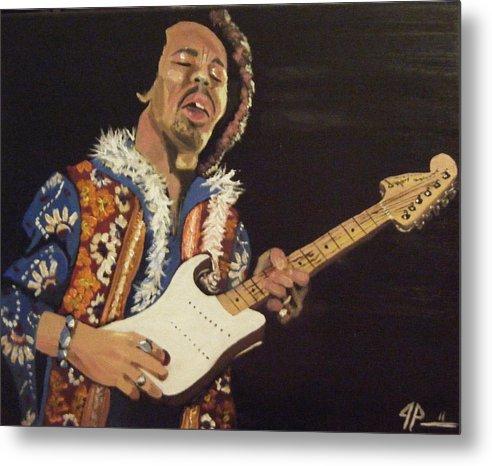 Jimi Hendrix Metal Print featuring the painting Jimi Hendrix by Joseph Papale