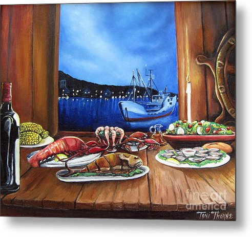 Painting Metal Print featuring the painting Seafood Feast by Toni Thorne