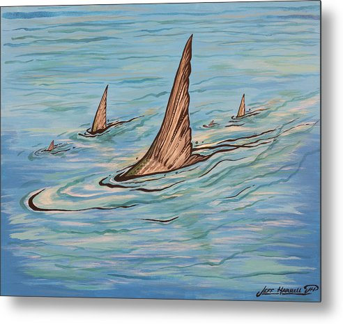 Tailin Bonefish Metal Print featuring the painting Tailin Bonefish by Jeff Harrell