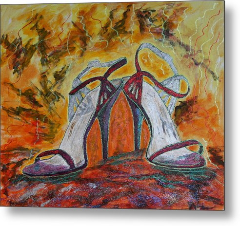 High Heels Metal Print featuring the painting The Glitter Twins by Jim Justinick