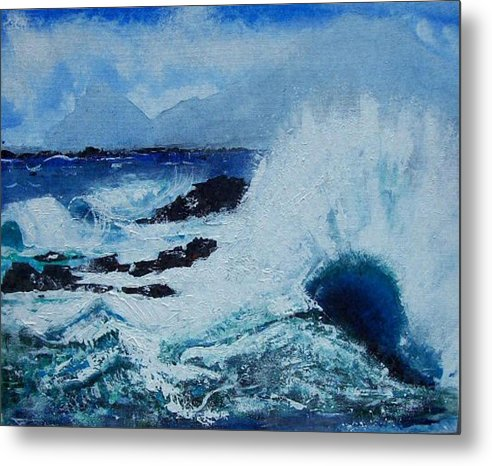 Waves Metal Print featuring the painting Waves by Valerie Wolf