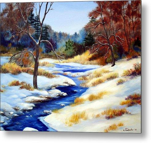 Maine Snow Winter Trees Nature Paintings Original Art Metal Print featuring the painting Winter Stream by Laura Tasheiko