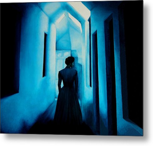 Oil Painting. Lady.blue Lady. Blue . Surreal Impressionism Metal Print featuring the painting Blue Lady In The Hall by Ivan Rijhoff