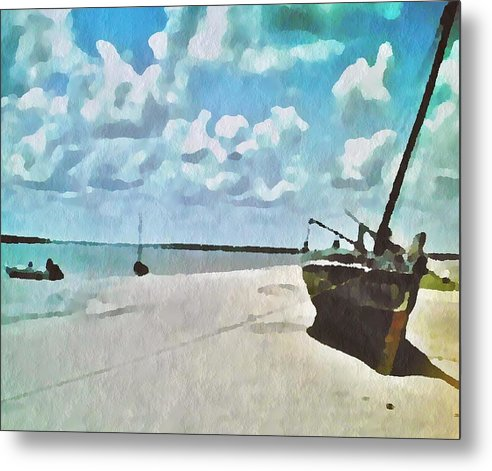 Seascapes Metal Print featuring the painting Sail On by Jacqueline Mason