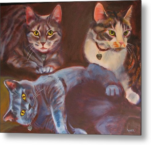 Cat Painting Metal Print featuring the painting Three For The Money by Kaytee Esser