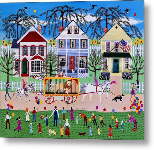 Circus Metal Print featuring the painting Wacky Jack's Travelling Circus Parade by Susan Henke