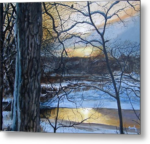 Landscape Metal Print featuring the painting The Watcher by William Brody