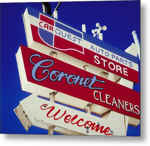 Americana Metal Print featuring the painting Coronet Cleaners by Randy Ford