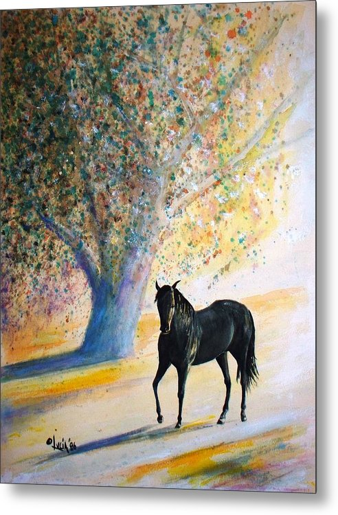Watercolor. Horses. Metal Print featuring the print Champ by Carl Lucia