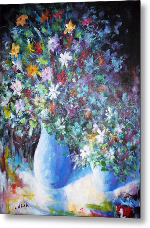 Flowers. Vases. Still Life. Prints. Metal Print featuring the print Flowerworks by Carl Lucia
