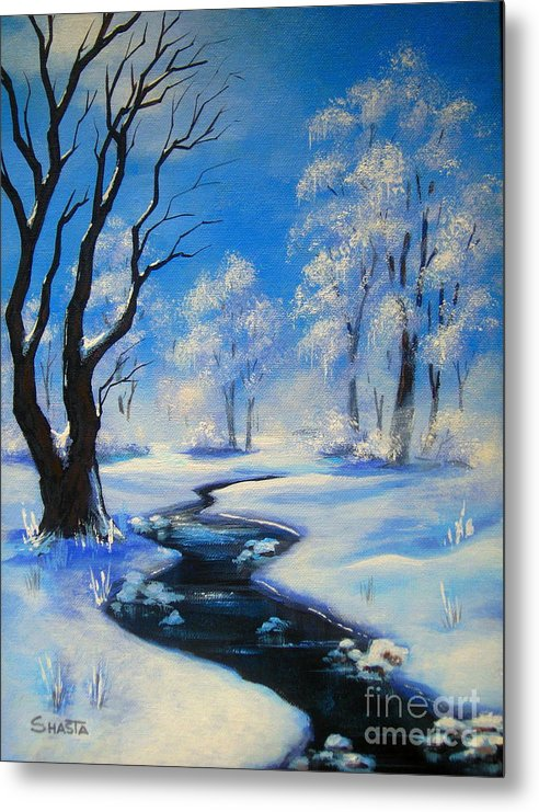 Landscape Metal Print featuring the painting Frozen Time by Shasta Eone