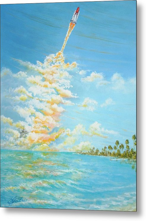 Historical Space-aviation Art-airplane Art Metal Print featuring the painting Pad 39 by Dennis Vebert