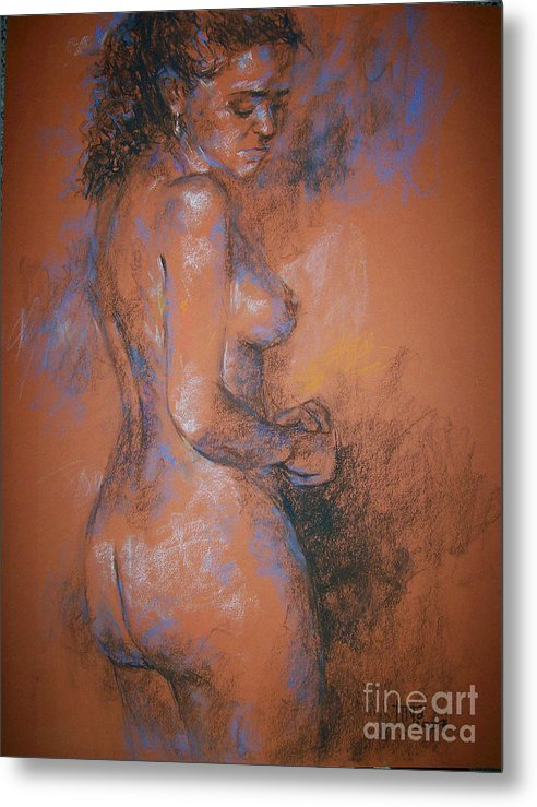 Figurative Metal Print featuring the painting Orange Nude by Tina Siddiqui