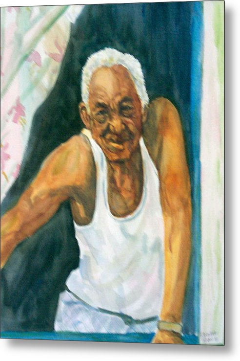 Simon Metal Print featuring the painting Simon Greets The Day by Ruth Mabee