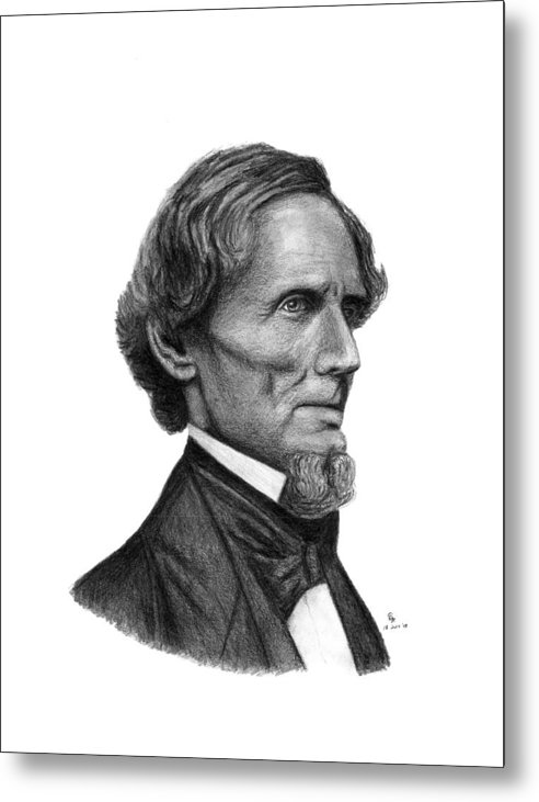 Confederate Metal Print featuring the drawing Confederate President Jefferson Davis by Charles Vogan