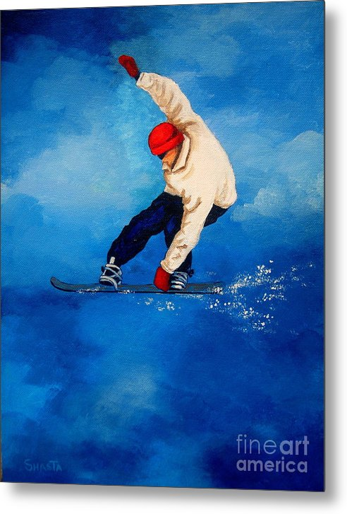 Landscape Metal Print featuring the painting Snowboard by Shasta Eone