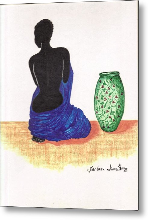 Metal Print featuring the drawing Woman And A Ginger Jar by Bee Jay