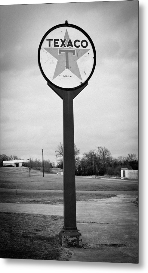 Sign Metal Print featuring the photograph Texaco Bw by Kristina Johnson
