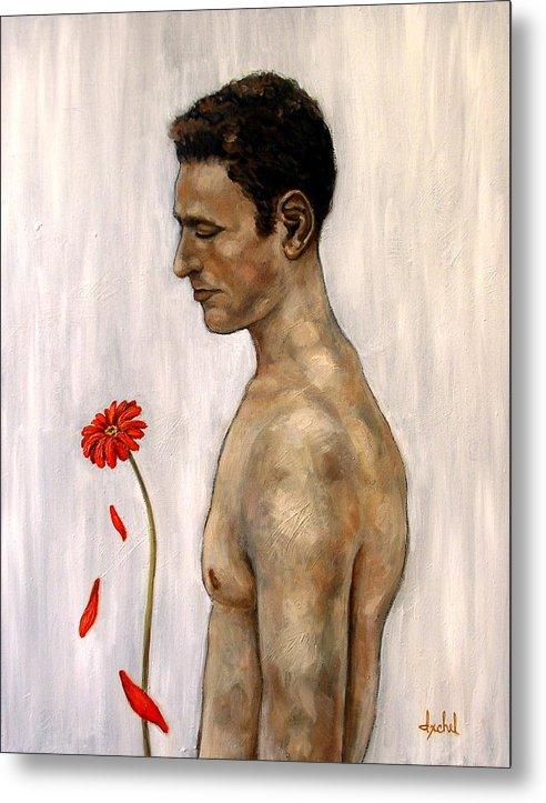 Man Metal Print featuring the painting Orange gerbera on white by Ixchel Amor