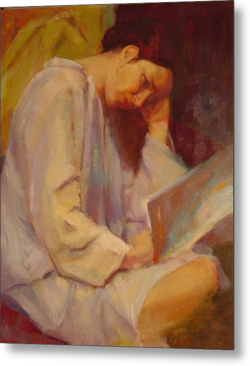 Figure Metal Print featuring the painting Reading In The Blue Robe by Irena Jablonski