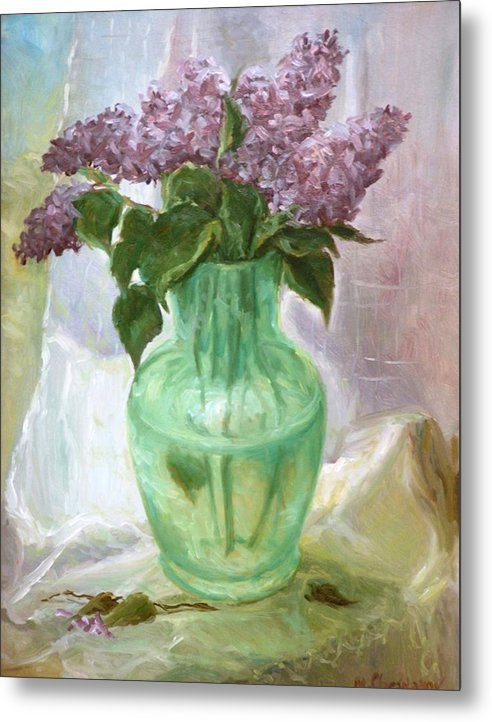 Lilacs Metal Print featuring the painting Lilacs In A Glass Vase by Michael Chesnakov