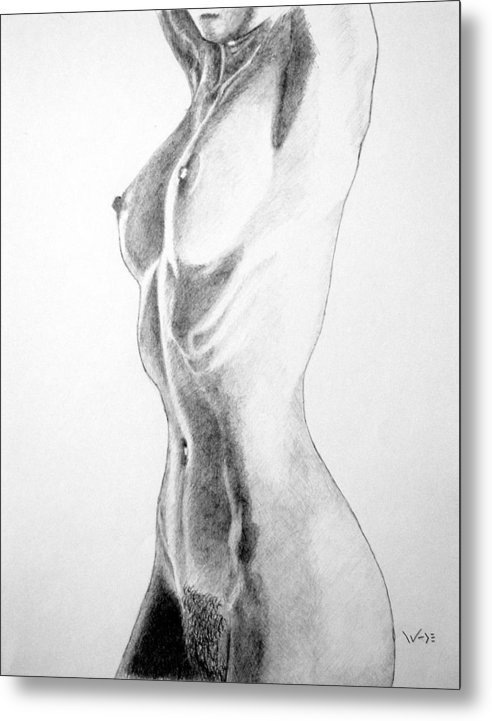 Female Metal Print featuring the drawing Female Nude Three by George Wade
