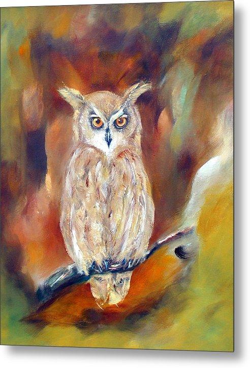 Owl Metal Print featuring the painting Night Flight by Zoe Landria