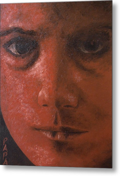 Red Face Metal Print featuring the painting Red Face by Ralph Papa